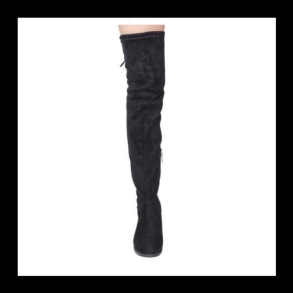 c5941f3969d Beston Drawstring Tie Low Heel Thigh High Boots NWT